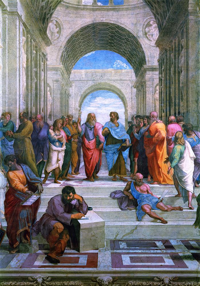 拉斐尔-0085618雅典学派局部(柏拉图与亚里士多德)90x130cm