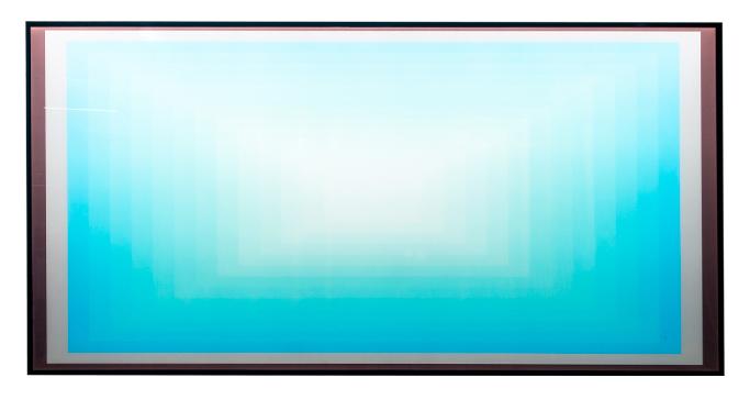 极简抽象画现代简约客厅挂画餐桌背景墙面轻奢蓝色发光样板房壁画